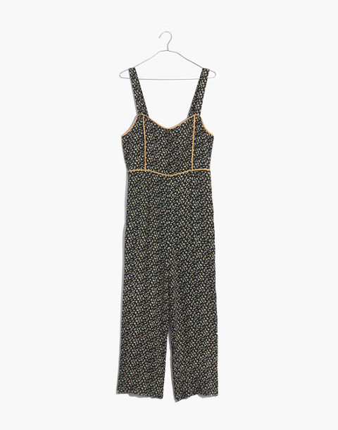 Button-Front Wide-Leg Jumpsuit in Playground Posies in adorable floral true black image 4