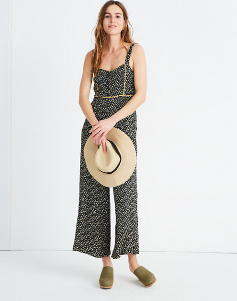 Button-Front Wide-Leg Jumpsuit in Playground Posies in adorable floral true black image 1