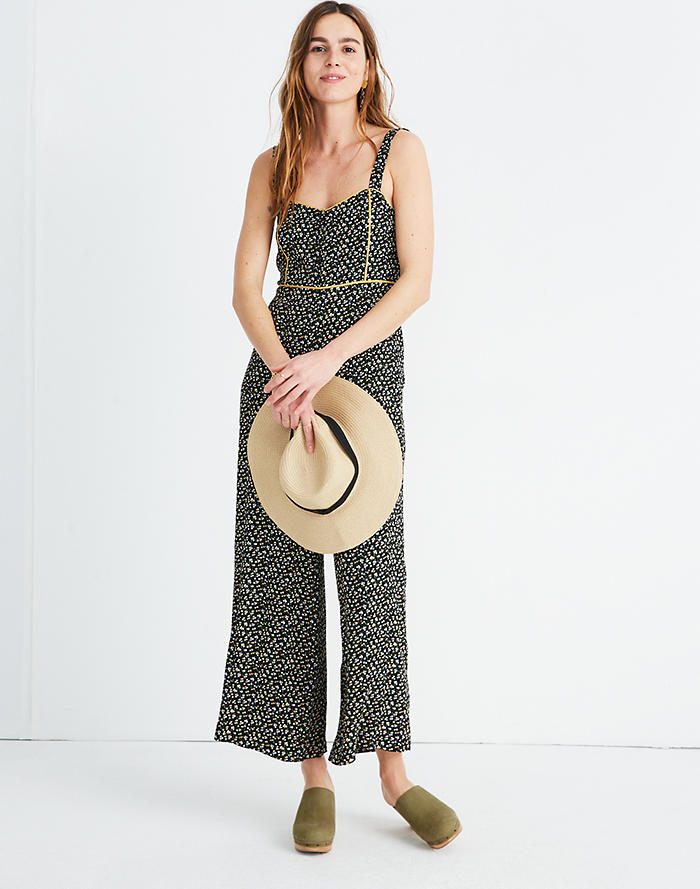 ba67f4e7c9a Button-Front Wide-Leg Jumpsuit in Playground Posies