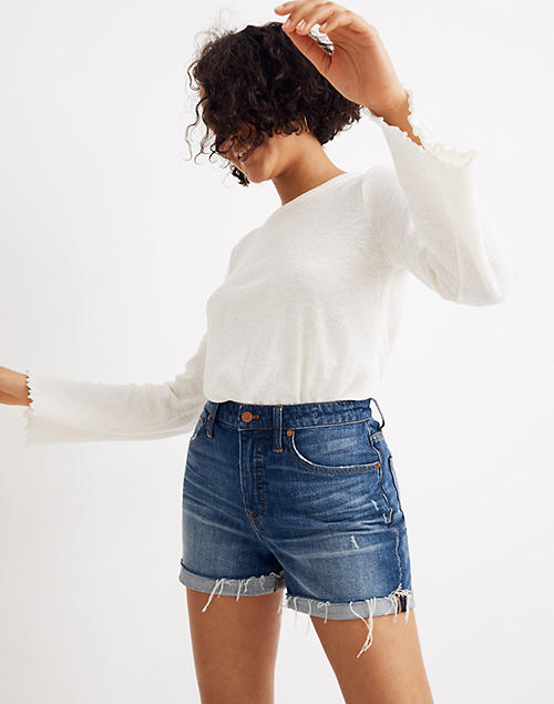 68a6cc923 Curvy High-Rise Denim Shorts in Glenoaks Wash in glenoaks wash image 1