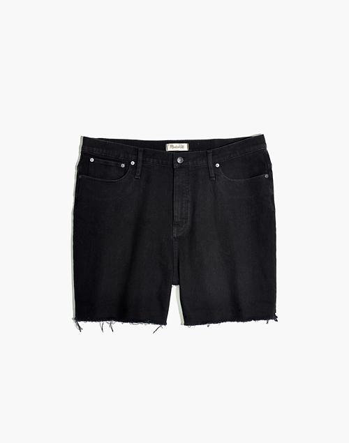 2b7b7f3177 Curvy High-Rise Denim Shorts in Black Frost: Raw-Hem Edition in black