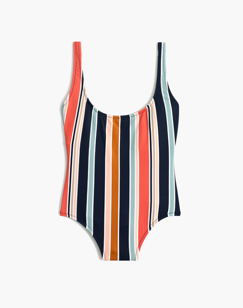 Madewell Second Wave Tank One-Piece Swimsuit in Towel Stripe in deep navy image 4