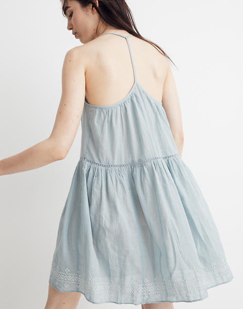 b03c785fe2 Embroidered Racerback Cover-Up Dress in blue horizon image 3