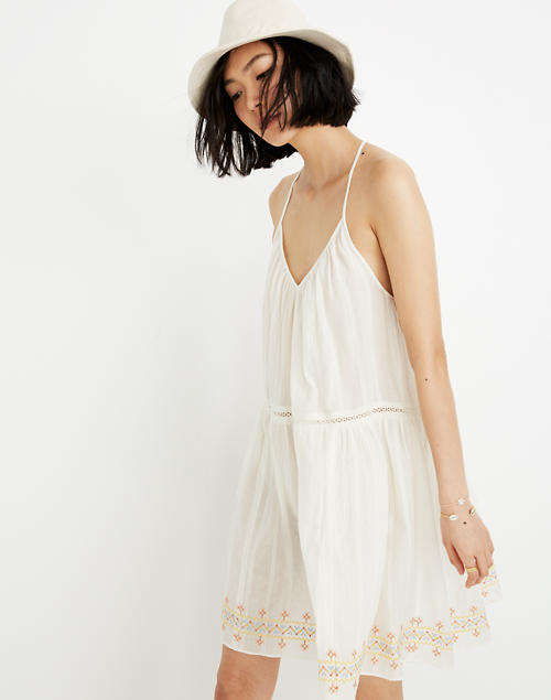 c4b4a85846 Embroidered Racerback Cover-Up Dress in pearl ivory image 1