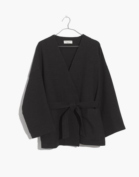 Texture & Thread Wrap Jacket in true black image 1