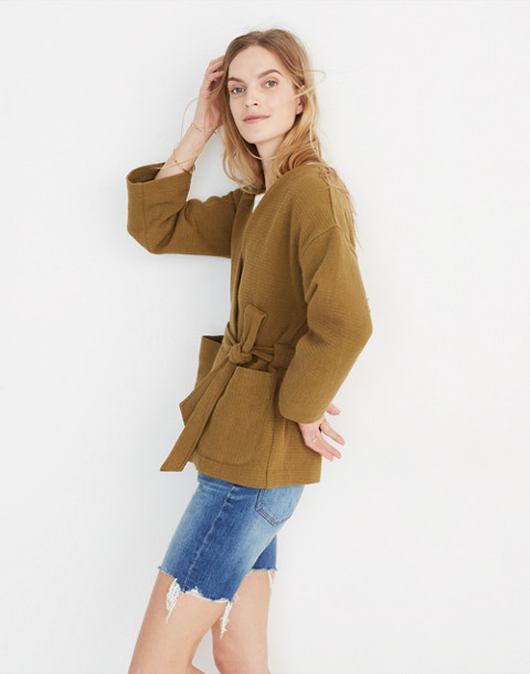 Texture & Thread Wrap Jacket in spiced olive image 2