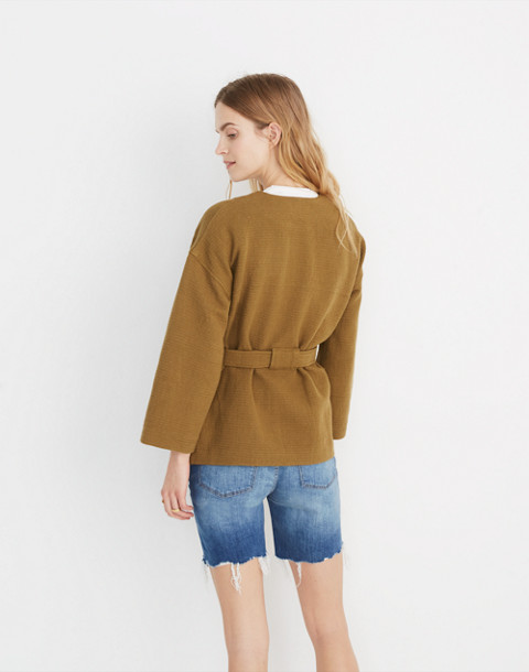 Texture & Thread Wrap Jacket in spiced olive image 3