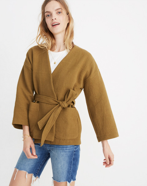 Texture & Thread Wrap Jacket in spiced olive image 1