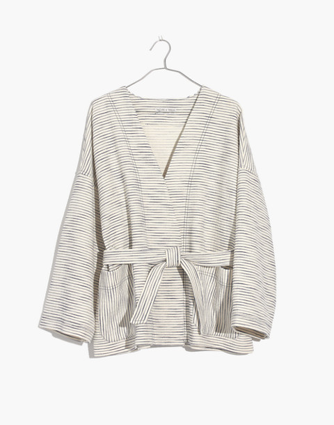 Texture & Thread Wrap Jacket in pearl ivory tiree stripe image 1