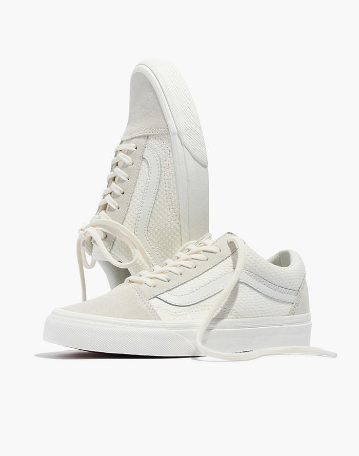 2067a7344cedab Vans® Unisex Old Skool Lace-Up Sneakers in White Suede and Canvas