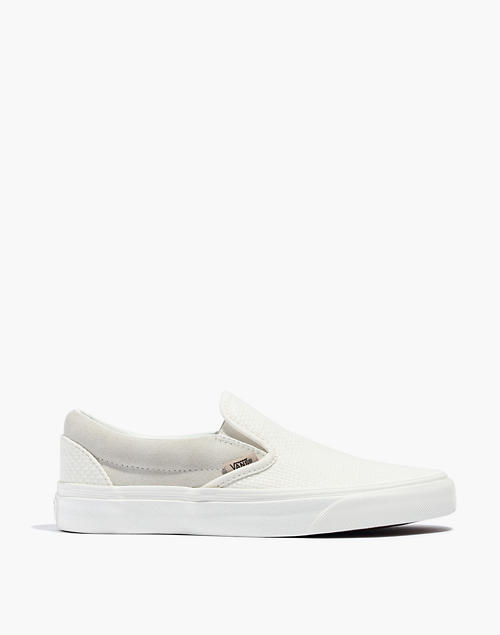 sports shoes pick up cheaper Vans® Unisex Classic Slip-On Sneakers in White Suede and Canvas