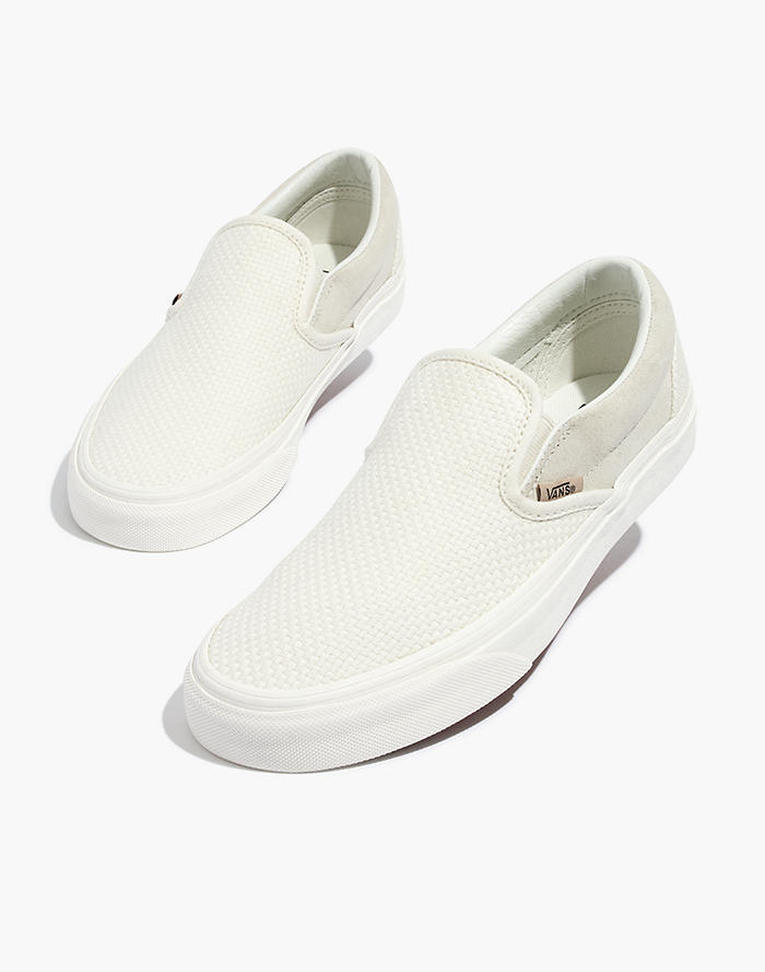 cfa379f4a8d Vans® Unisex Classic Slip-On Sneakers in White Suede and Canvas