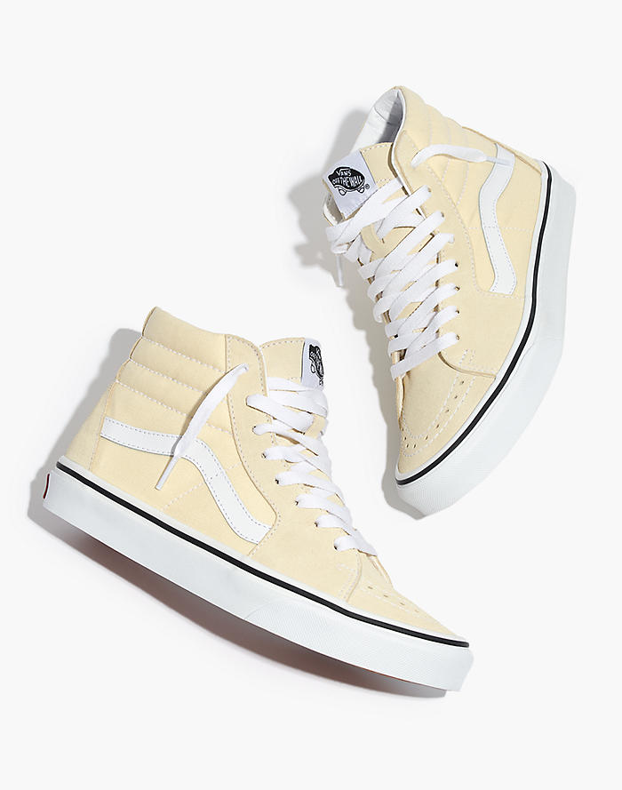 e27f214864 Vans® Unisex Sk8-Hi High-Top Sneakers in Vanilla Custard Suede and Canvas