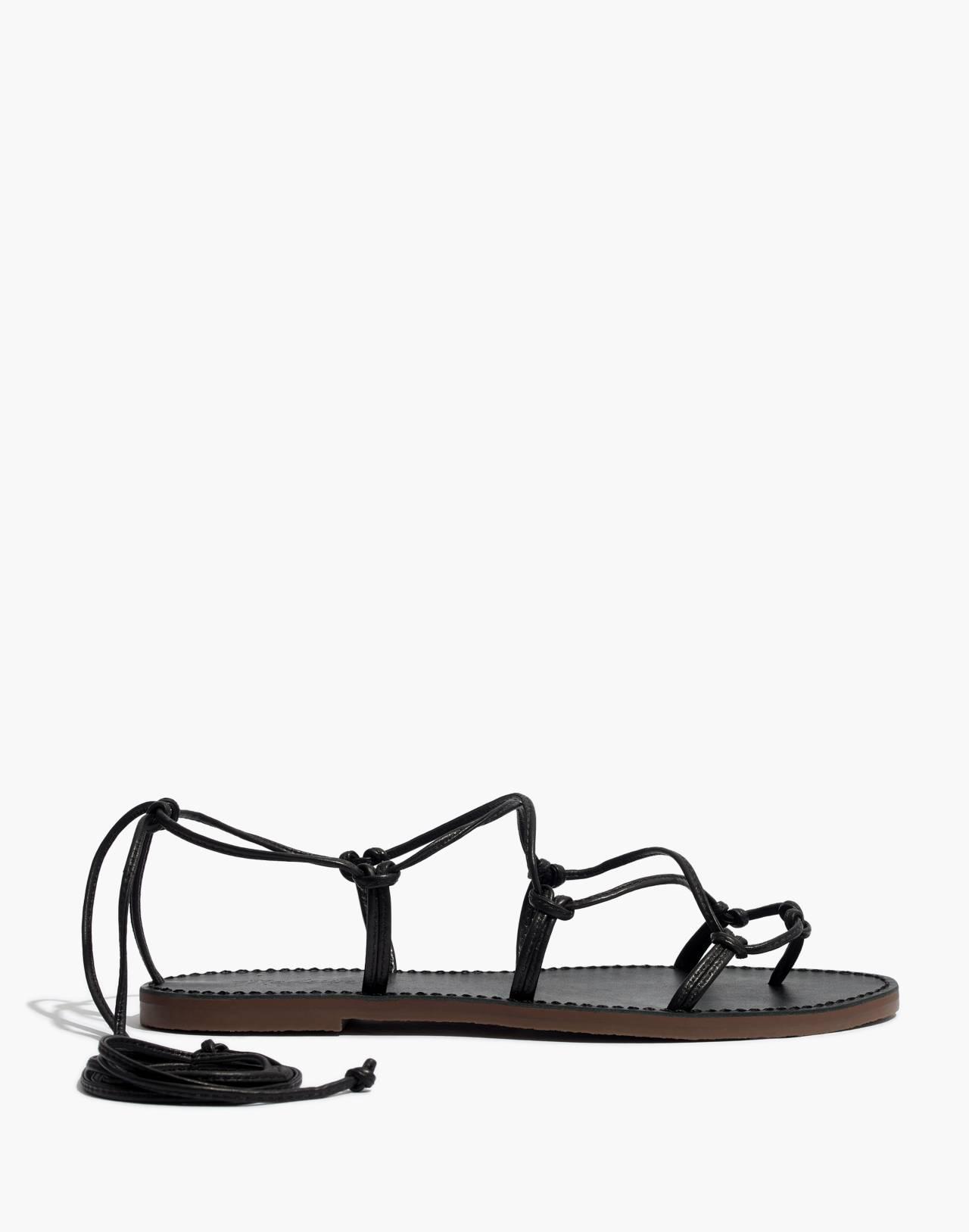The Boardwalk Lace-Up Sandal in true black image 3