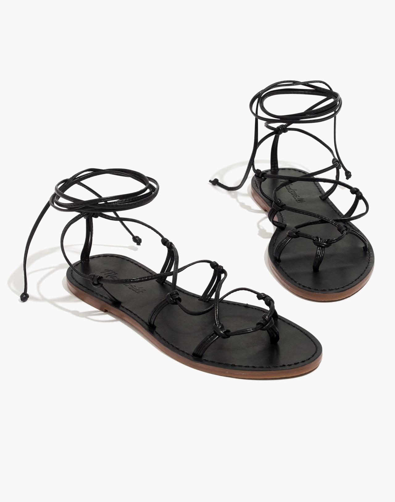 The Boardwalk Lace-Up Sandal in true black image 1