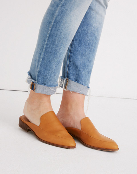 The Frances Loafer Mule in Leather in amber brown image 2