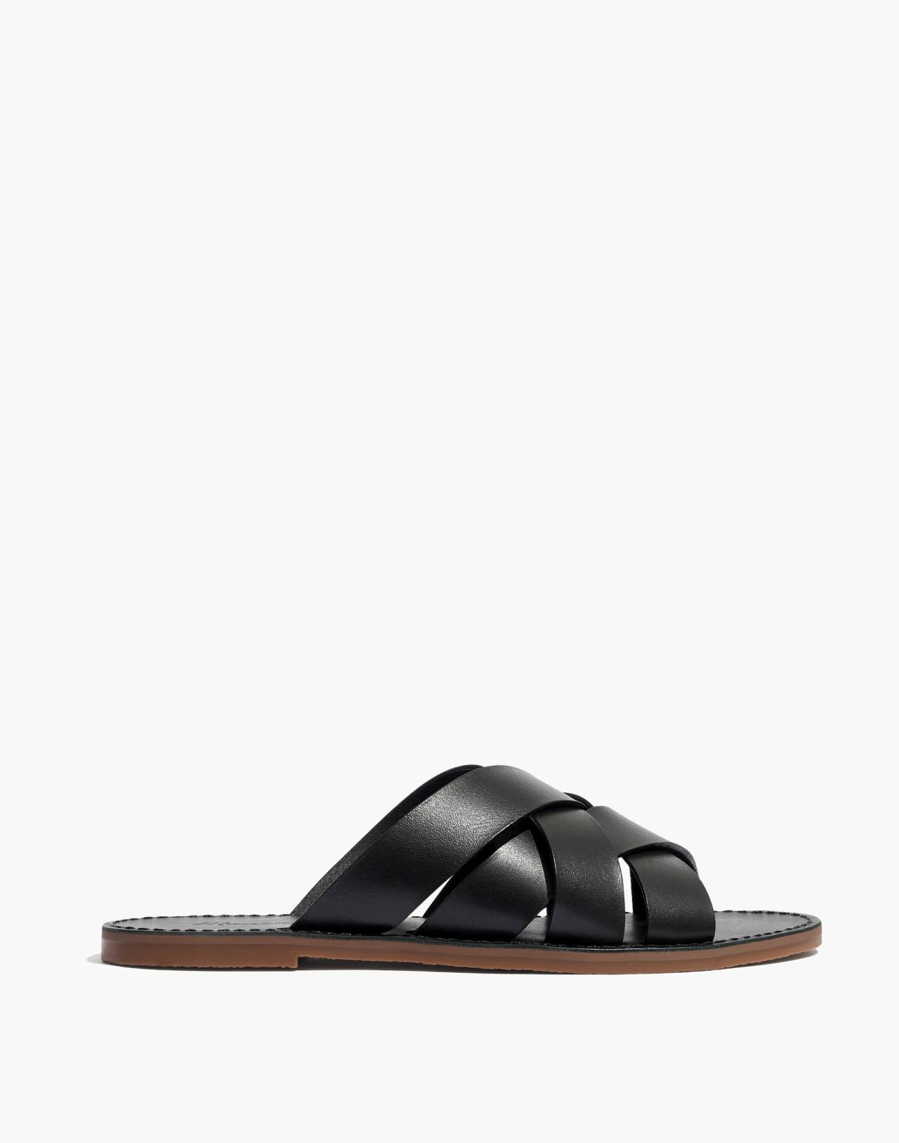 The Boardwalk Woven Slide Sandal in true black image 2