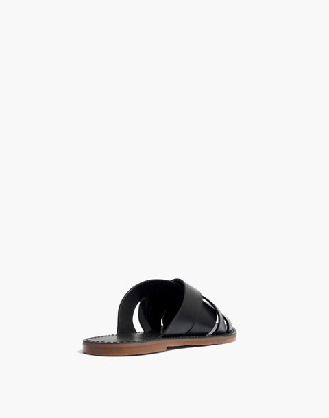 The Boardwalk Woven Slide Sandal in true black image 3