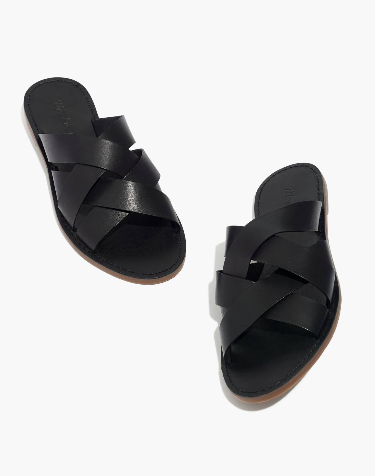 The Boardwalk Woven Slide Sandal in true black image 1