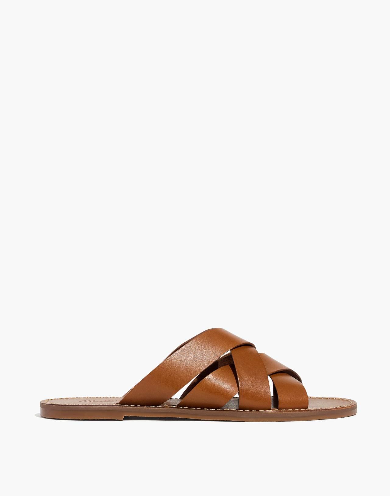 The Boardwalk Woven Slide Sandal in english saddle image 3