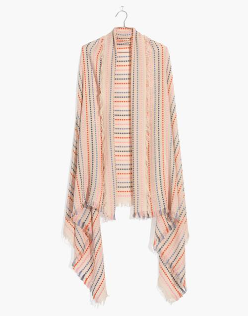 Stitched Rainbow Stripe Scarf in faded wicker multi image 1