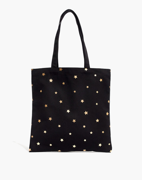 The Reusable Canvas Tote: Star Edition in true black star image 1