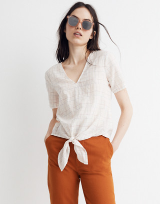 Novel Tie Front Top In Rainbow Windowpane by Madewell