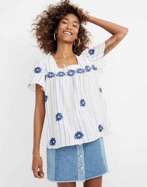 Floral Embroidered Butterfly Top In Stripe by Madewell