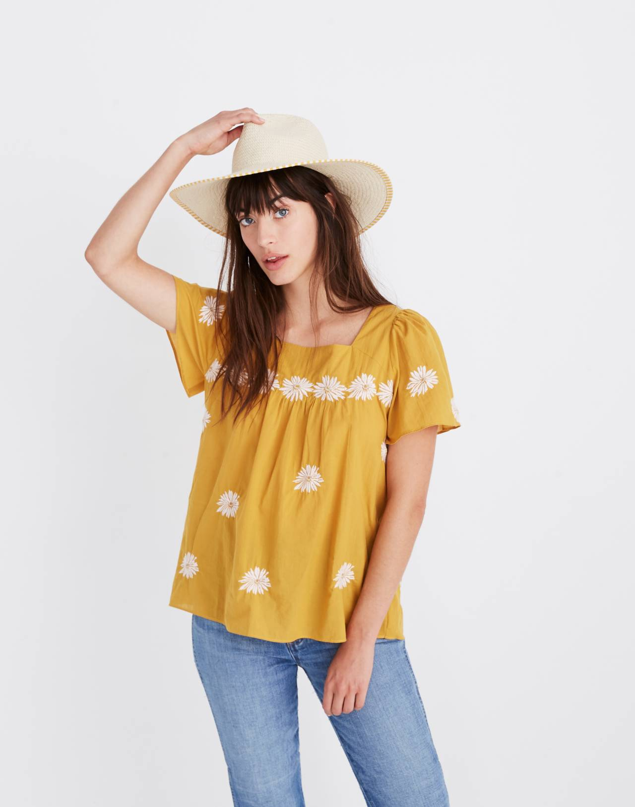 Floral Embroidered Butterfly Top in tungsten glow image 1