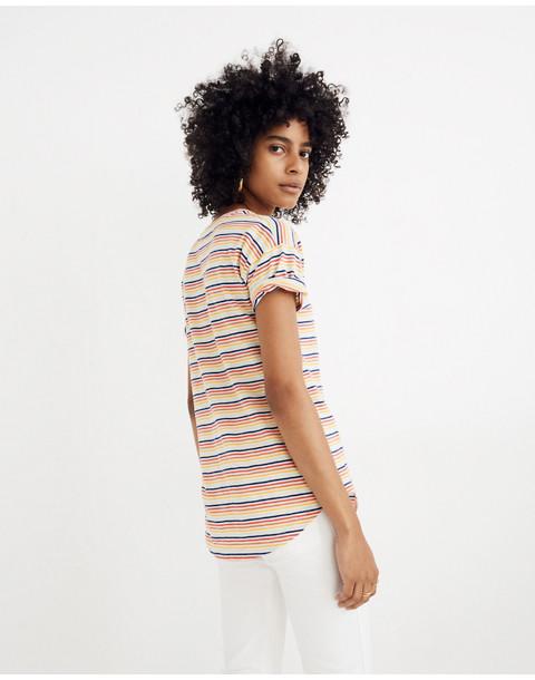 Whisper Cotton Crewneck Tee in Rainbow Stripe in rusted rainbow nias stripe image 3