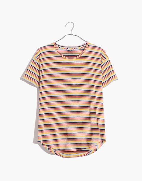 Whisper Cotton Crewneck Tee in Rainbow Stripe in rusted rainbow nias stripe image 4