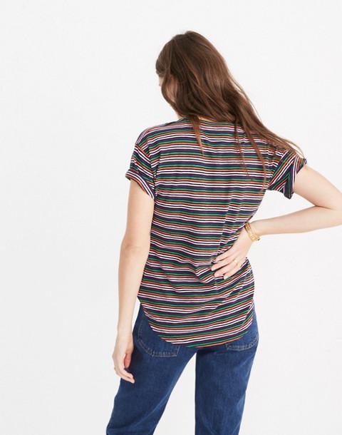 Whisper Cotton Crewneck Tee in Rainbow Stripe in coastal rainbow nias stripe image 3