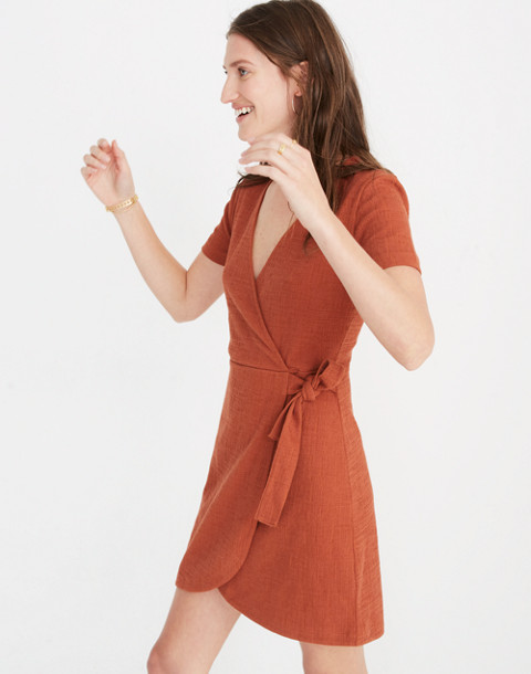 Texture & Thread Short-Sleeve Side-Tie Dress in burnt clay image 2