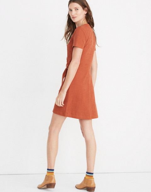 Texture & Thread Short-Sleeve Side-Tie Dress in burnt clay image 3