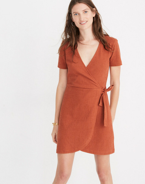 Texture & Thread Short-Sleeve Side-Tie Dress in burnt clay image 1