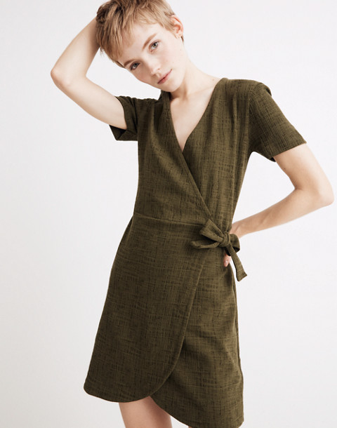 Texture & Thread Short-Sleeve Side-Tie Dress in deep woodland image 2