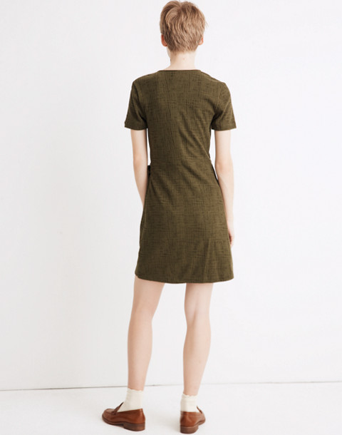 Texture & Thread Short-Sleeve Side-Tie Dress in deep woodland image 3