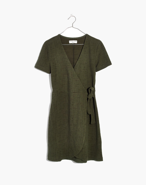 Texture & Thread Short-Sleeve Side-Tie Dress in deep woodland image 4