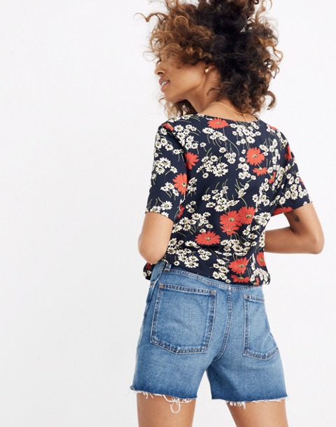 Novel Tie-Front Top in Hillside Daisies in multi daisy deep indigo image 3
