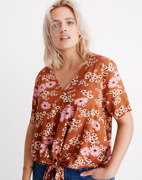 Petite Novel Tie-Front Top in Hillside Daisies in multi daisy burnt clay image 1