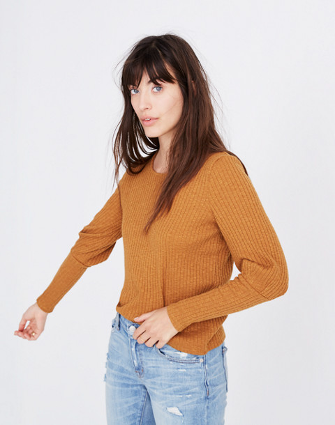 Ribbed Bubble-Sleeve Top in golden pecan image 2