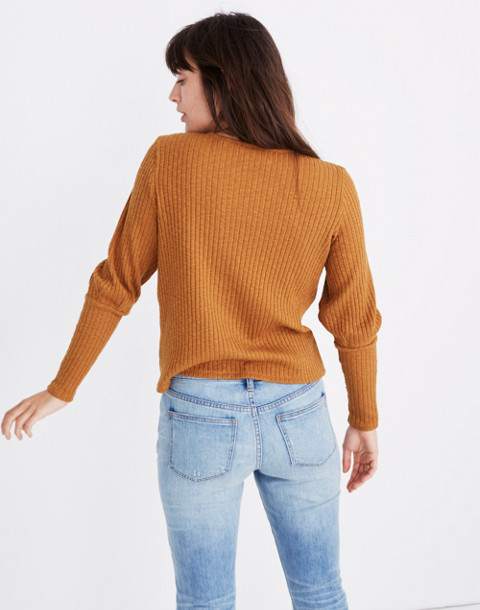 Ribbed Bubble-Sleeve Top in golden pecan image 3