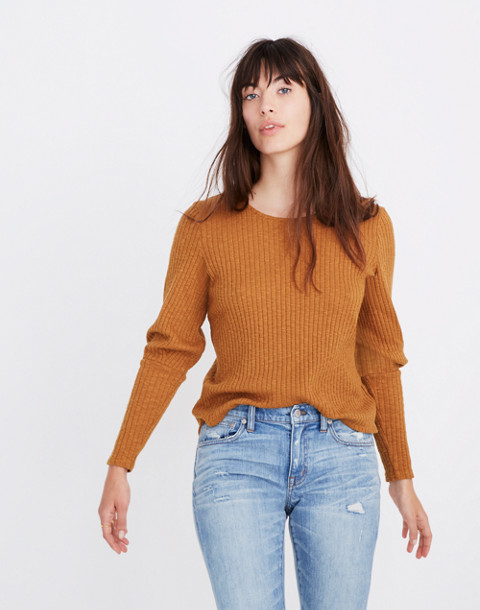 Ribbed Bubble-Sleeve Top in golden pecan image 1