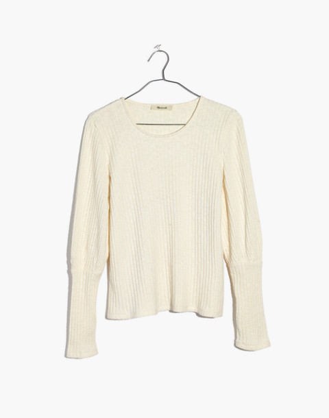 Ribbed Bubble-Sleeve Top in pearl ivory image 1