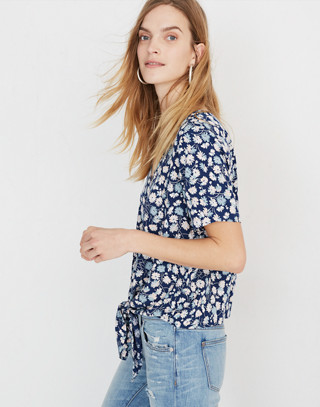 Novel Tie-Front Top in French Floral in french floral blue moon image 2