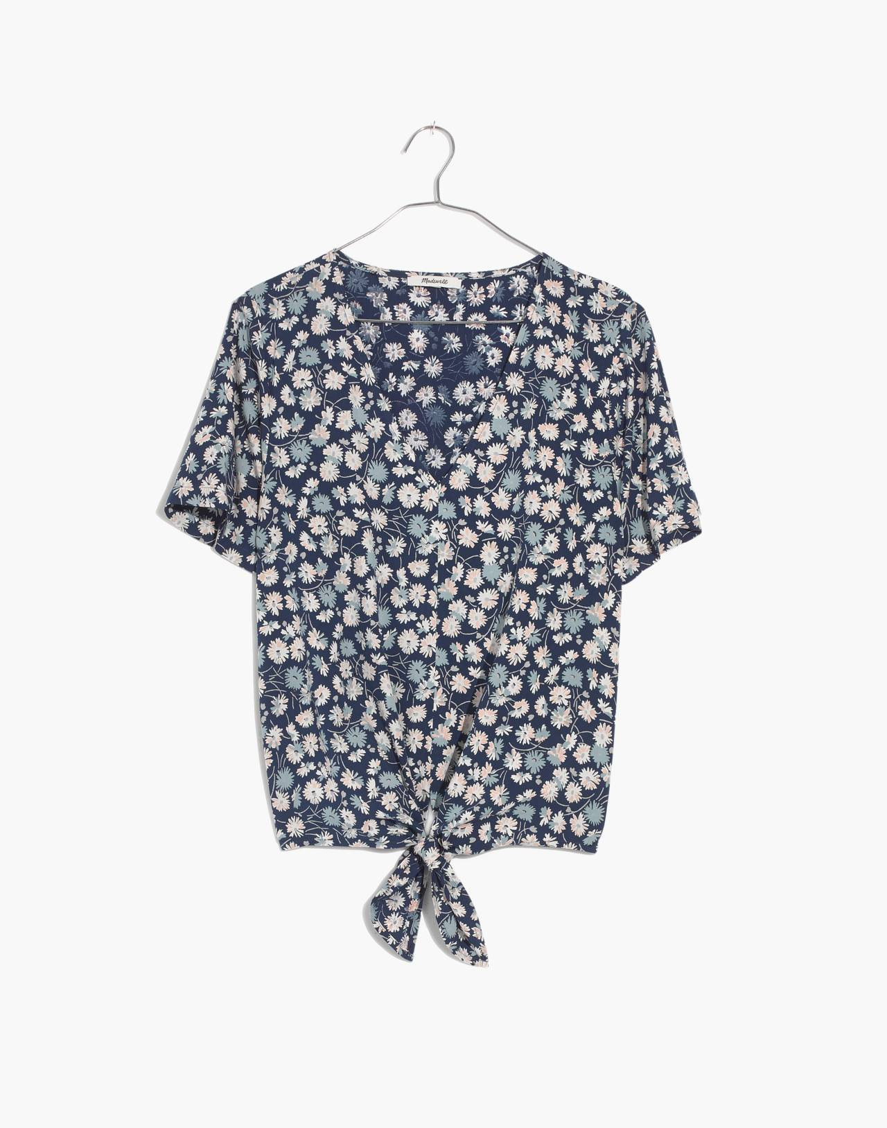 Novel Tie-Front Top in French Floral in french floral blue moon image 4