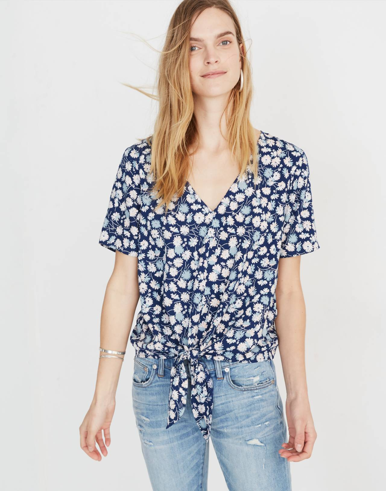 Novel Tie-Front Top in French Floral in french floral blue moon image 1