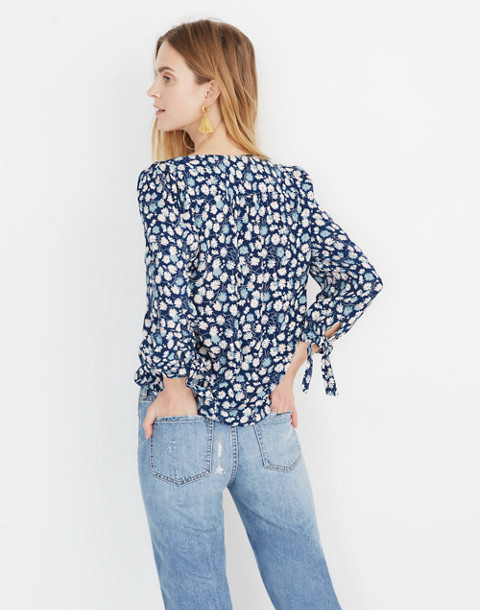 Tie-Sleeve Button-Down Top in French Floral in french floral blue moon image 3