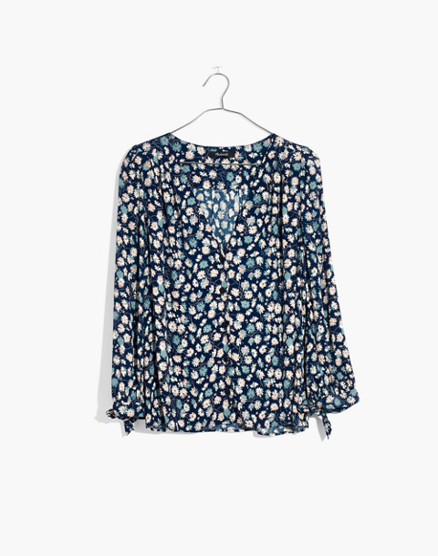 Tie-Sleeve Button-Down Top in French Floral in french floral blue moon image 4
