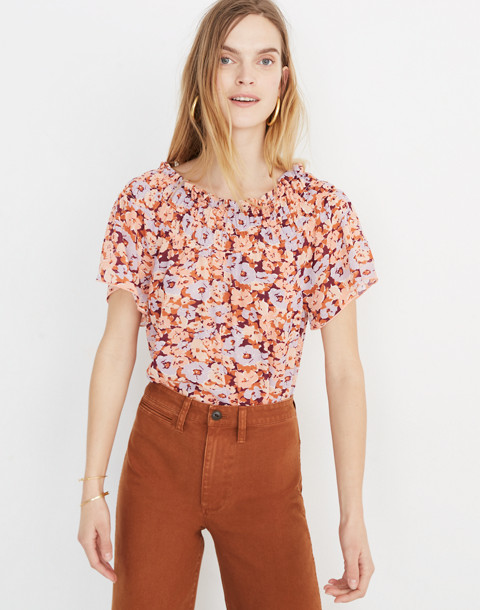 Smocked Mockneck Top In Floral Breeze by Madewell